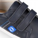 Navy blue color OKAA FLEX tennis kids shoes laceless.