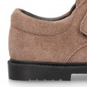 Suede leather kids School shoes Blucher style laceless with chopped design.