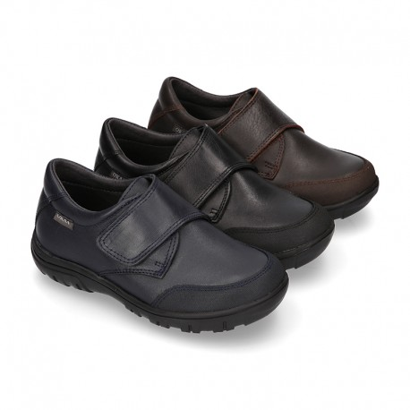 Laces up kids School shoes with hook and loop strap and toe cap in PREMIUM leather.