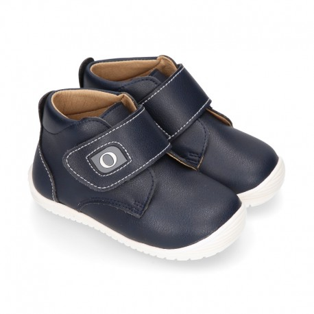 Navy Blue color OKAA FLEX kids Bootie shoes laceless and with toe cap.