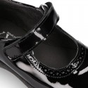 BLACK patent leather Girl Mary Jane School shoes with hook and loop strap closure.