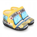 FUNNY print designs wool knit kids bootie home shoes with hook and loop strap.