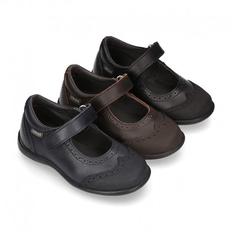 Perforated Girl Mary Jane School shoes with hook and loop strap in PREMIUM leather.