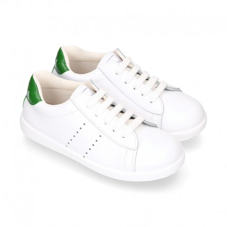 Washable Nappa leather Fashion OKAA kids School tennis shoes with laces.