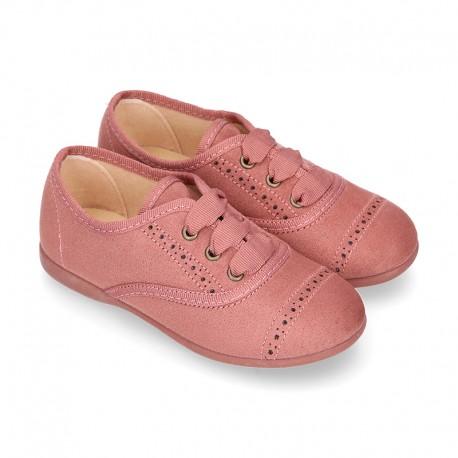 Zapato tipo BLUCHER niños en Serratex MAQUILLAJE con picados.