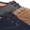 Zapato tipo BLUCHER niños en Serratex en colores Otoñales y con picados.