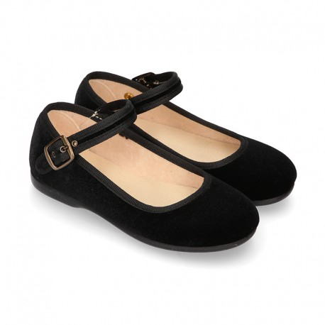BLACK Velvet canvas Girl Mary Jane shoes with back buckle fastening.