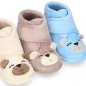 Botita de casa niños cierre adherente OSITO en lana.