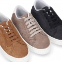 SUEDE LEATHER OKAA kids tennis shoes with laces.