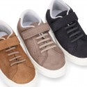 SUEDE LEATHER OKAA kids tennis shoes with elastic laces and hook and loop strap.