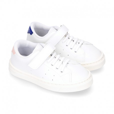 WASHABLE MICRODOT Canvas OKAA kids tennis shoes with elastic laces.