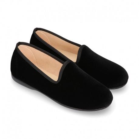 BLACK Velvet canvas KIDS Fashion SLIPPER style shoes.