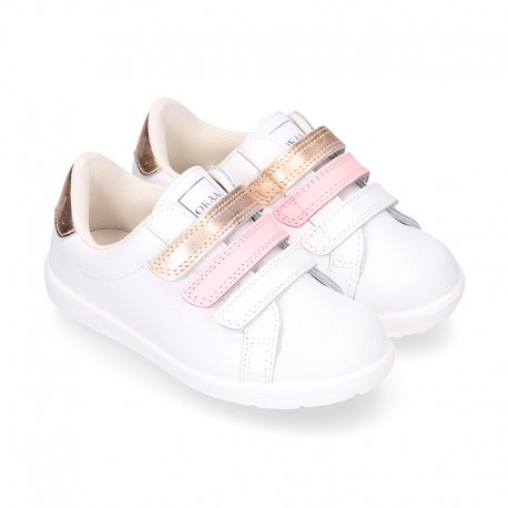 Washable nappa leather school Girl tennis shoes laceless with combined triple hook and loop straps.