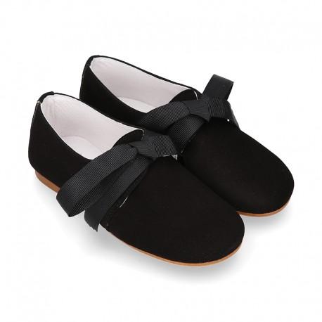Zapato Niños tipo Blucher estilizado en piel ANTE NEGRO.
