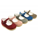 Halter little Mary Jane shoes in soft suede leather for first steps.