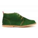 Suede leather ankle boots Oxford style with shoelaces and outsole in contrast.