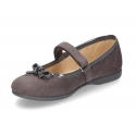 Autumn winter canvas little Mary Jane shoes with velcro strap and ribbon in patent finished.