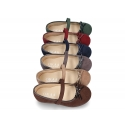 Autumn winter canvas little Mary Jane shoes with hook and loop strap and ribbon in patent finished.