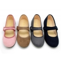 Autumn winter little Mary Jane shoes with hook and loop strap and button.