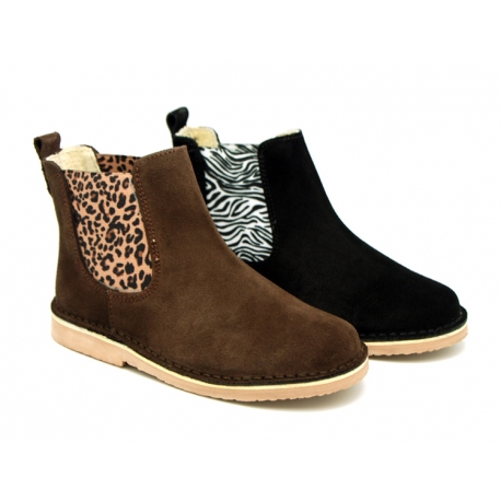 Suede leather ankle boots with animal print elastic band.