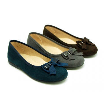Autumn winter Ballet flat shoes with bow in patent finished.