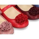Printed autumn winter canvas little Mary Jane shoes with hook and loop strap and FLOWER detail.