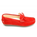 Suede leather Moccasin shoes with bows and driver type Outsole for large sizes.