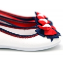 Cotton canvas ballet flat shoes, Casual style with bow.