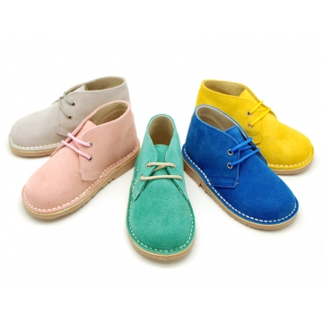 Classic Suede leather safari boots in spring colors.