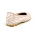 Classic suede leather ballet flat shoes with little dots printed.