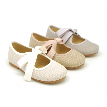 Little Angel style ballet flat shoes in LINEN with ties closure.