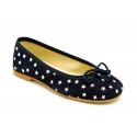 Classic suede leather ballet flat shoes with stars print.