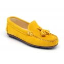 Suede leather Moccasin shoes with tassels in seasonal colors for toddler boys.