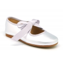 New Little Angel style ballet flat shoes in metal finish leather.