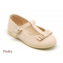 Cotton canvas T-strap little Mary Jane shoes with bow.