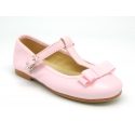 Soft leather T-strap little Mary Jane shoes with ribbon and buckle fastening.