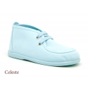 Cotton canvas Wallabee style bootie shoes with ties closure.