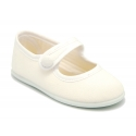 Cotton Canvas Merceditas or Mary Jane style shoes with velcro strap and button.