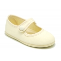 Cotton Canvas Merceditas or Mary Jane style shoes with hook and loop strap and button.
