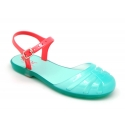 Jelly ballet style shoes with buckle fastening for beach and pool use.