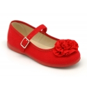 Cotton canvas Mary Jane shoes with flower detail.