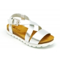 Metal leather sandal shoes for toddler girls with white soles.