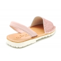 Extra soft LEATHER Menorquina sandals with rear strap and glitter design.