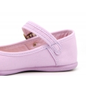 Stylized Cotton Canvas Merceditas or Mary Jane style shoes with buckle fastening.