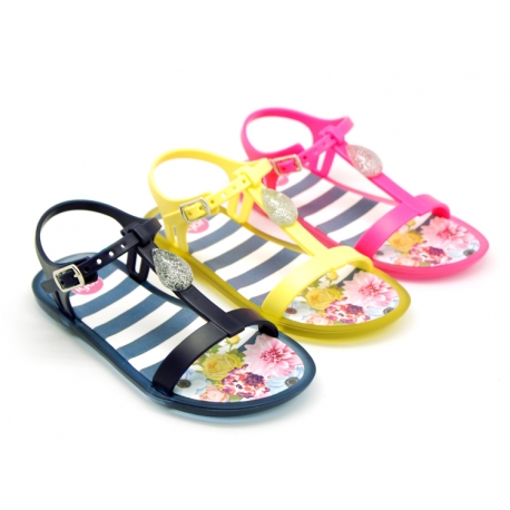 T-strap jelly shoes with jewel detail for beach and pool use.