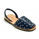 EXTRA SOFT leather Menorquina sandals with rear strap and stars print.