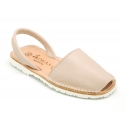 EXTRA SOFT leather Menorquina sandals with rear strap and white soles.