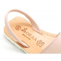 EXTRA SOFT leather kids Menorquina sandals with rear strap and white soles.