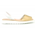 New metal finish leather Menorquina sandals with white soles.