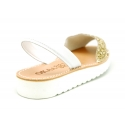 Glitter finish Menorquina sandals with rear strap and white soles.